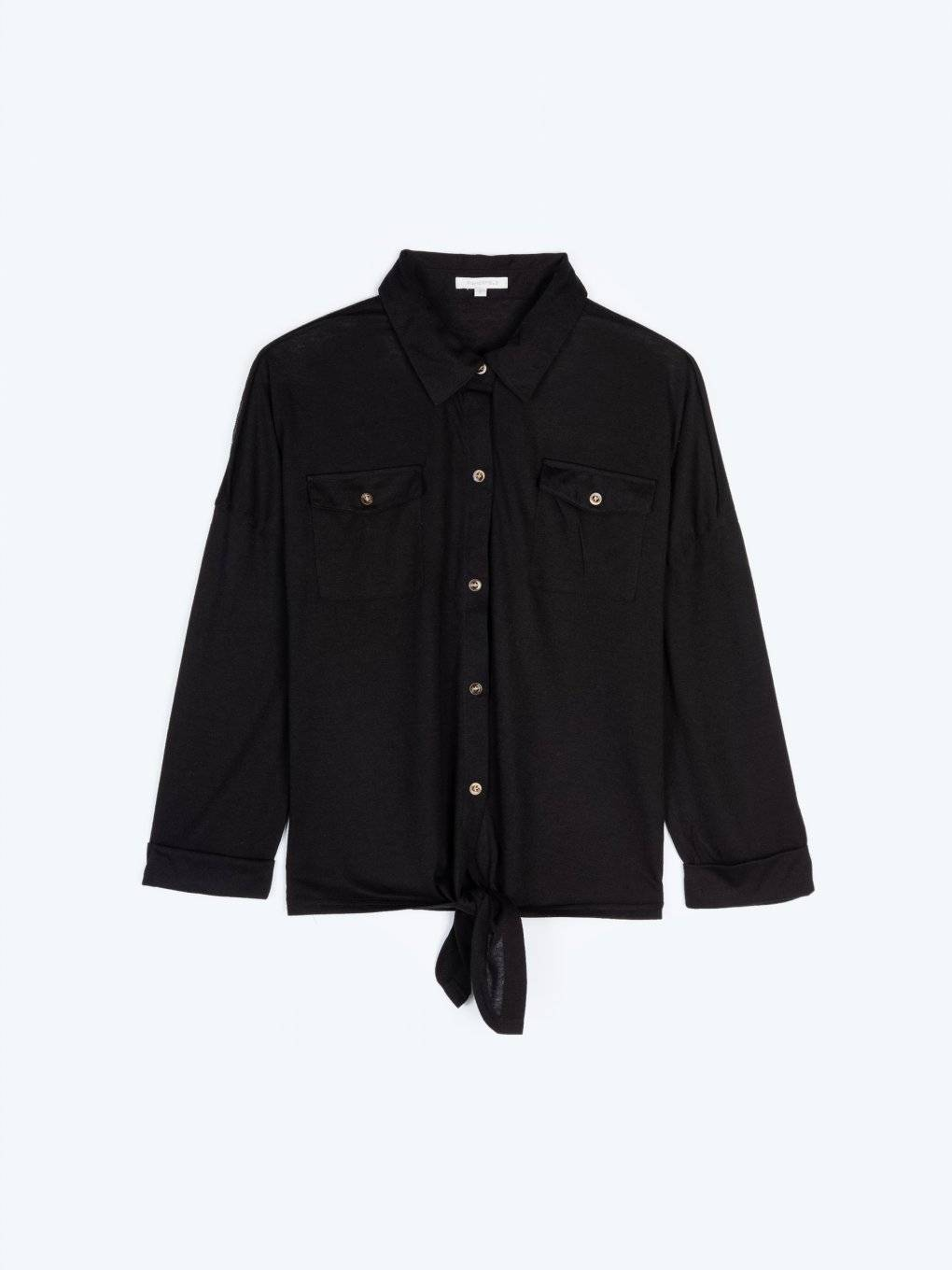 Loose fit shirt with front knot