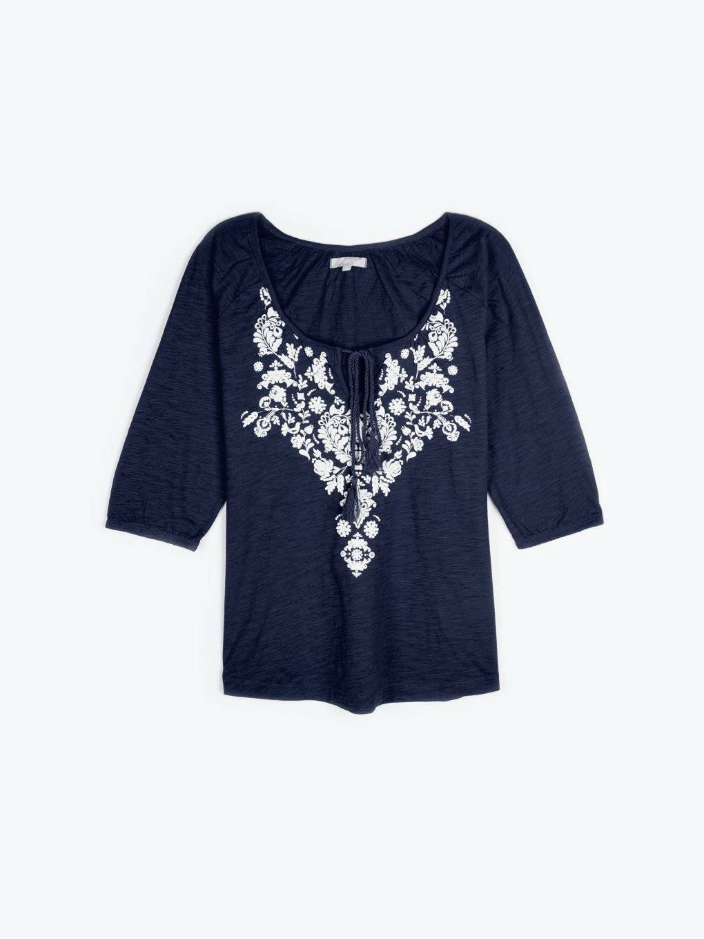 Printed lace-up t-shirt