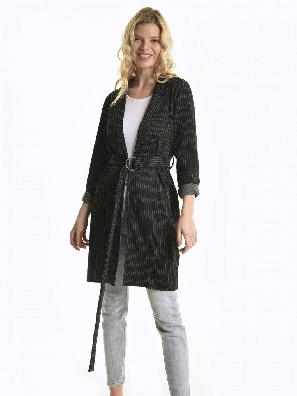 Striped robe coat with metal buckle