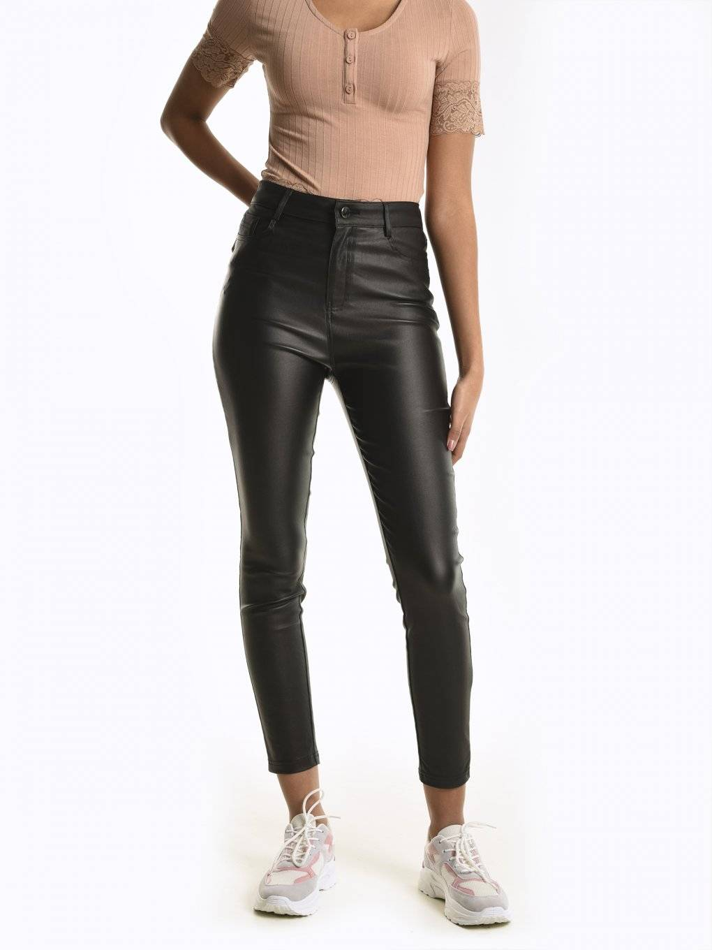 Stretchy skinny fit coated trousers