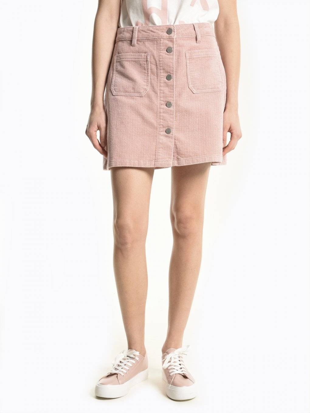 Button down corduroy skirt