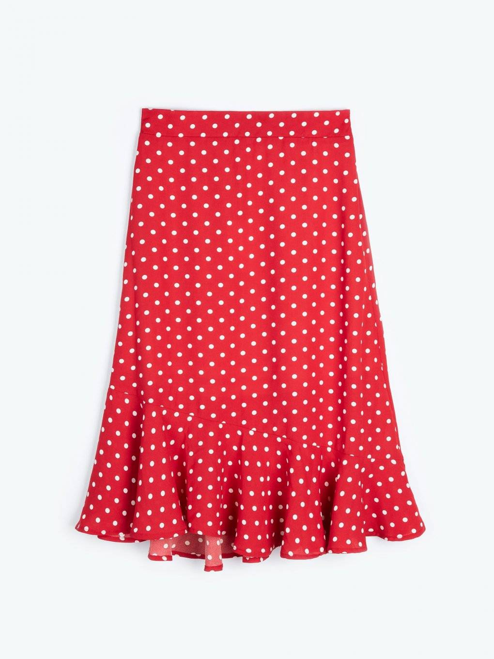 Polka dot print skirt with ruffle
