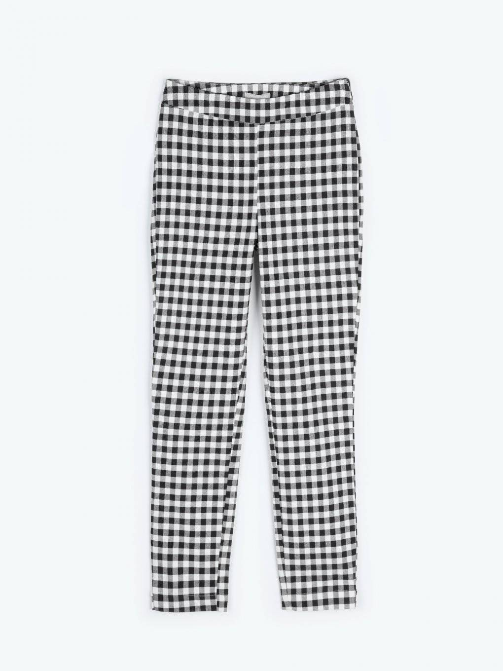 Gingham print skinny trousers