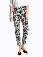 Flower print slim fit trousers