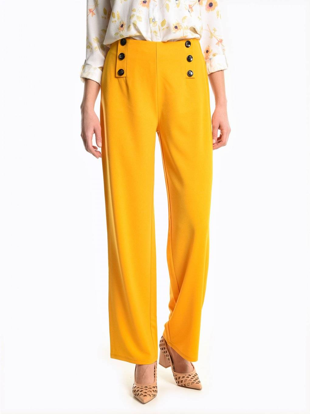 Wide leg high waisted trousers