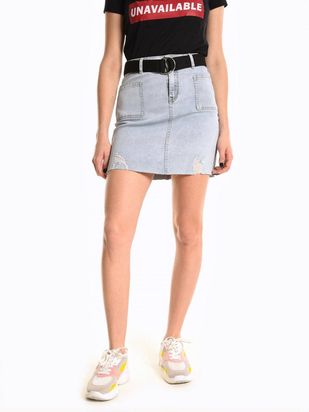 Mini denim skirt with belt