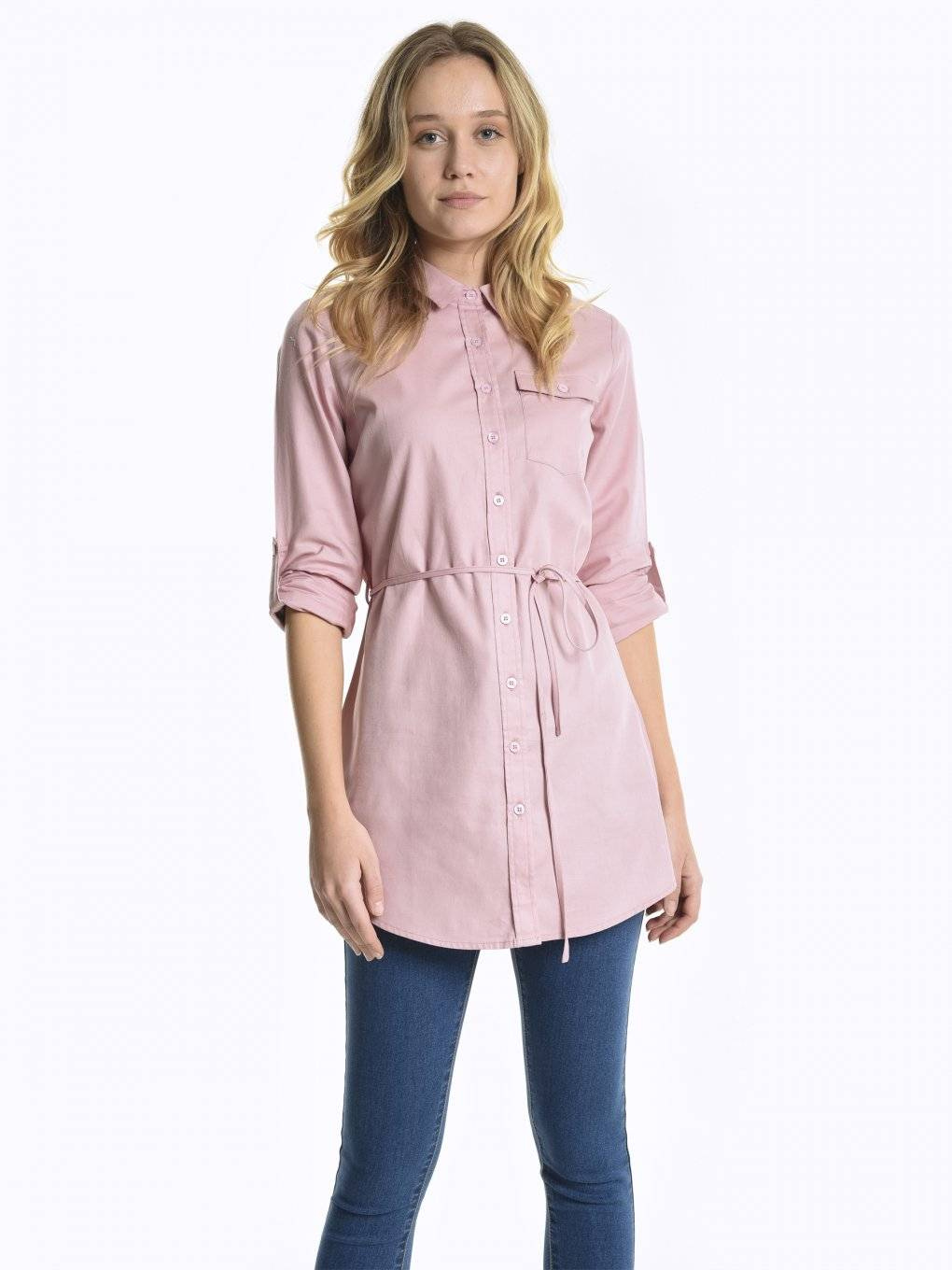 Longline cotton blouse with belt