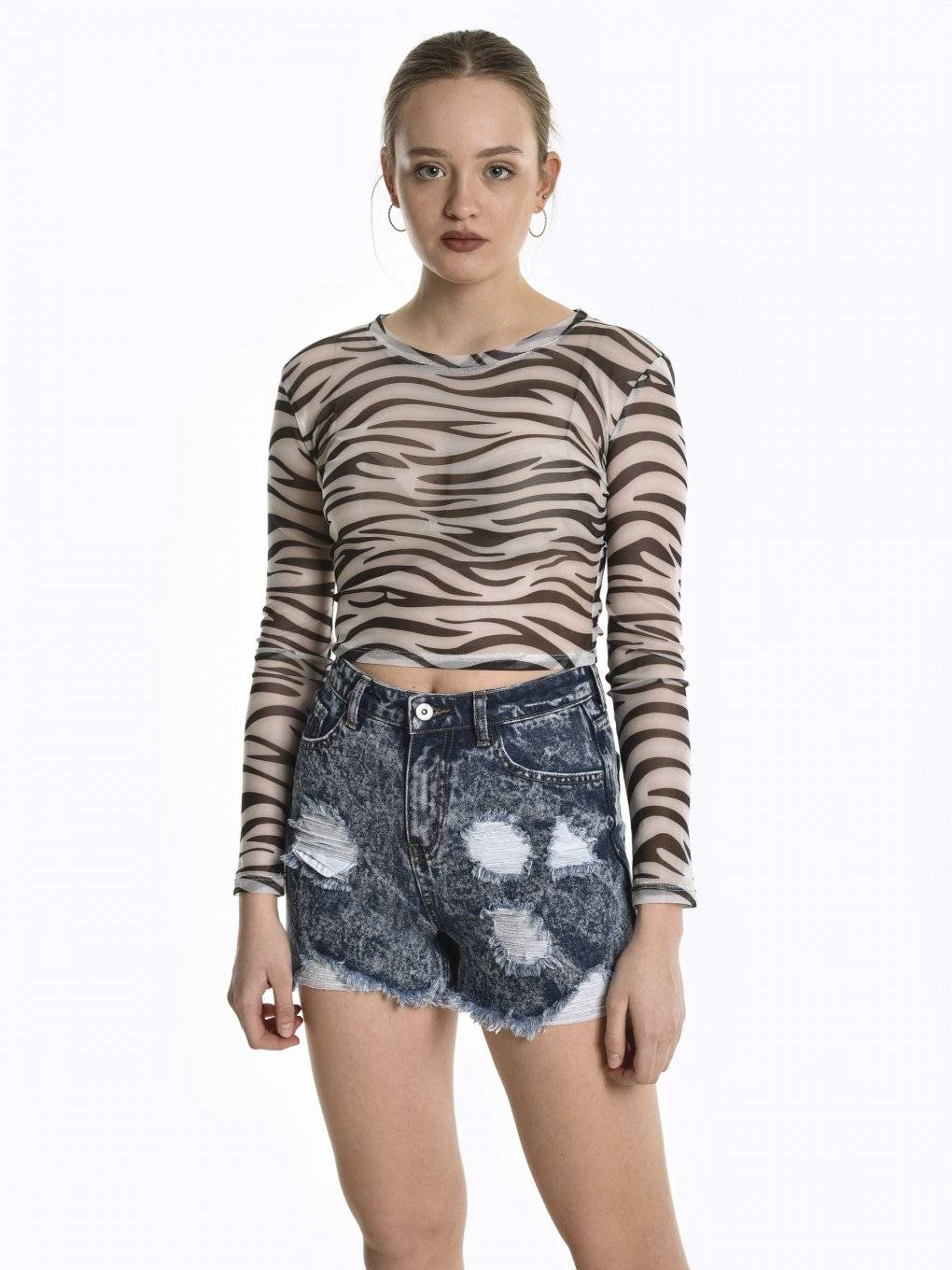 Animal print mesh crop top