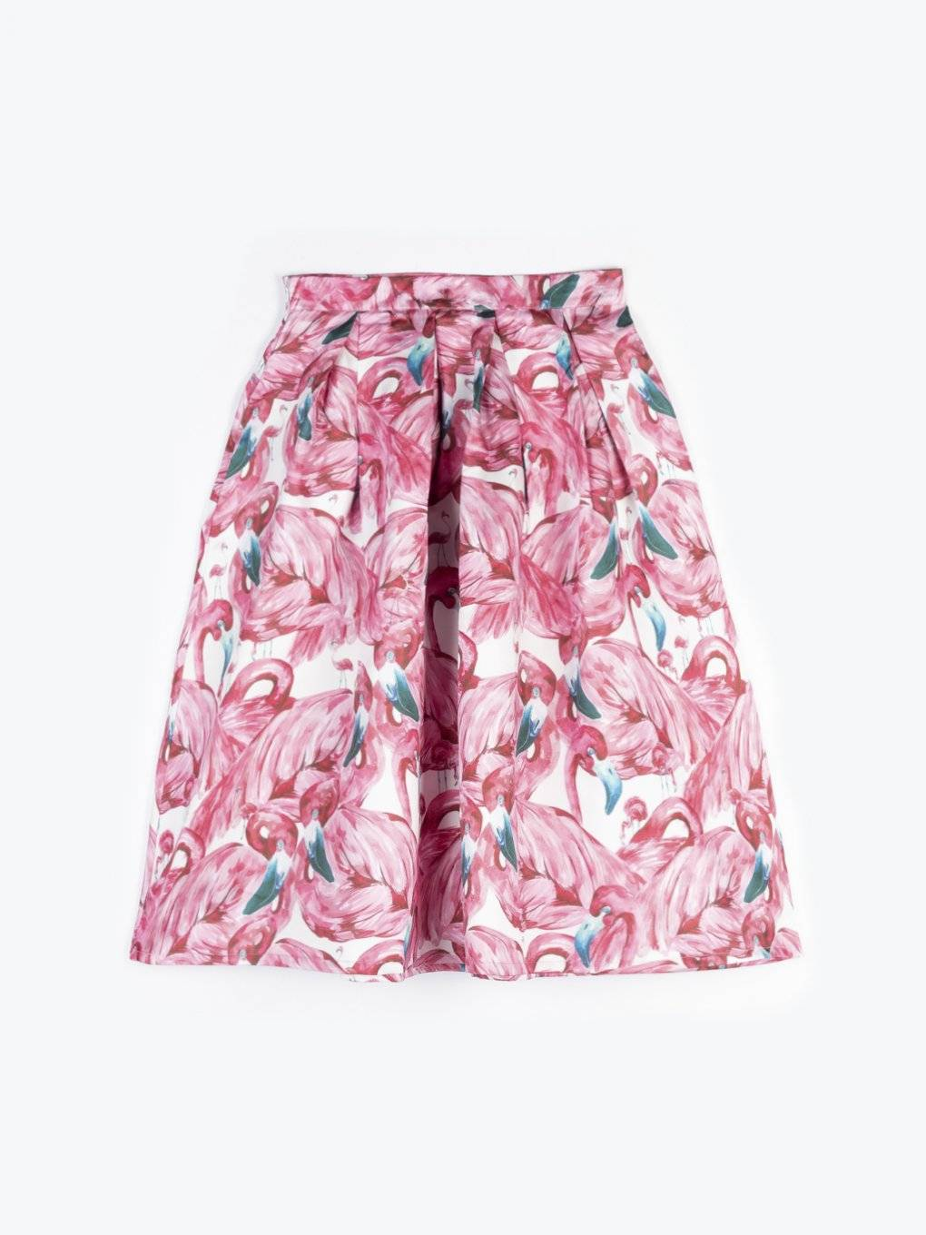 A-line midi skirt with flamingo print