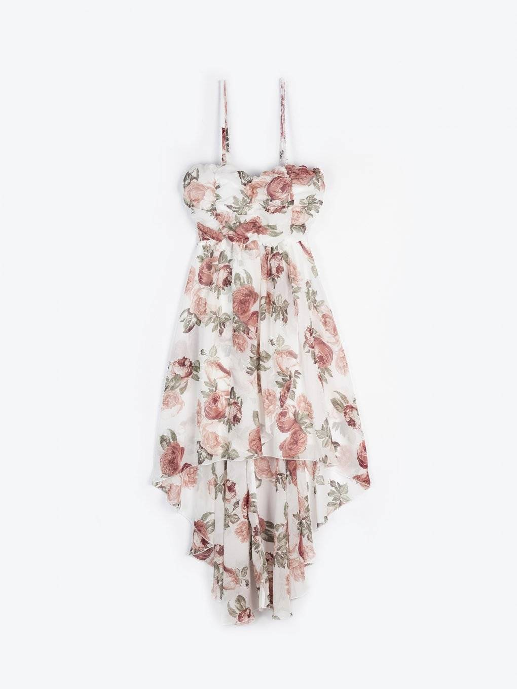 Asymmetric floral dress with removable straps