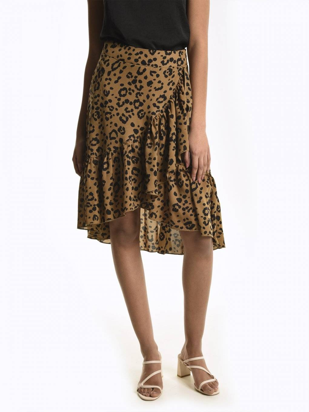 Animal print skirt with ruffles