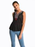 Sleeveless top with embroidery