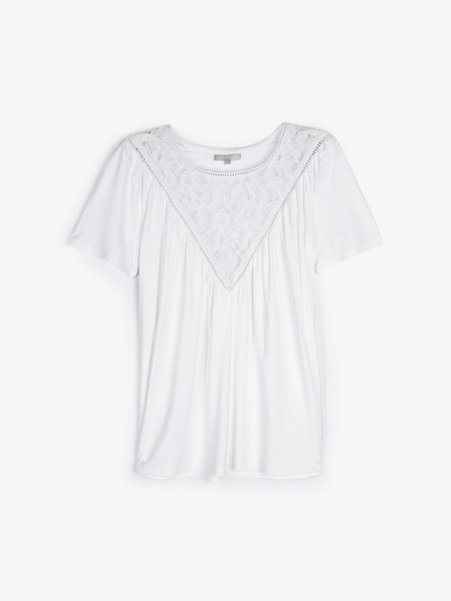 GATE Viskózové tričko s čipkou