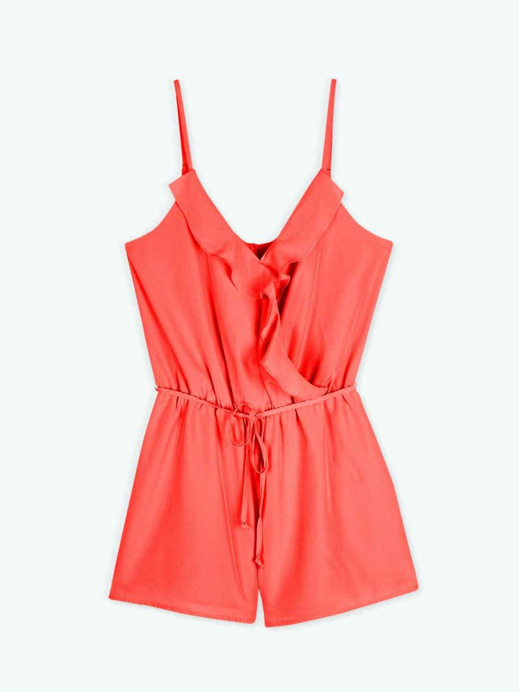 Short jumpsuit with ruffles