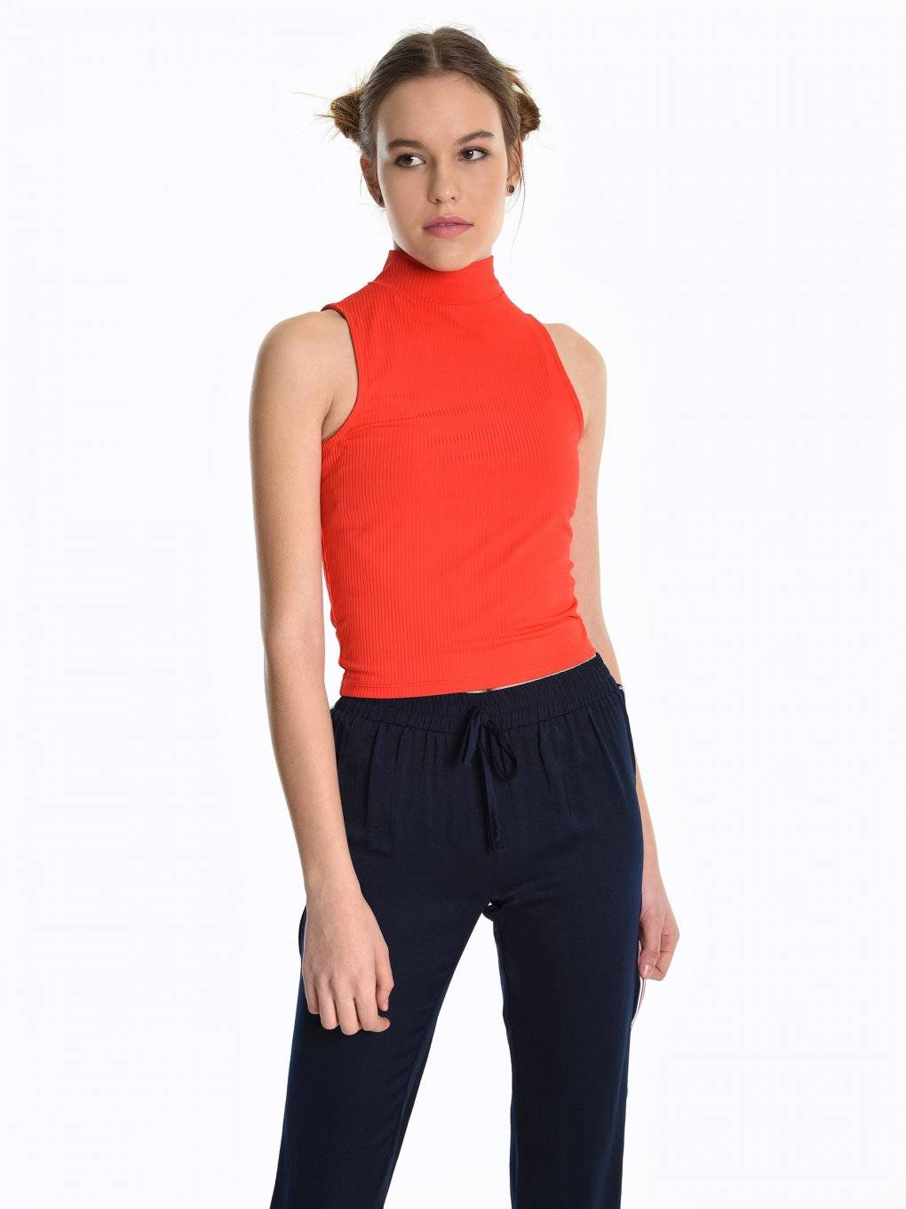 Ribbed high neck crop top