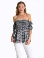 Off-the-shoulder gingham blouse top