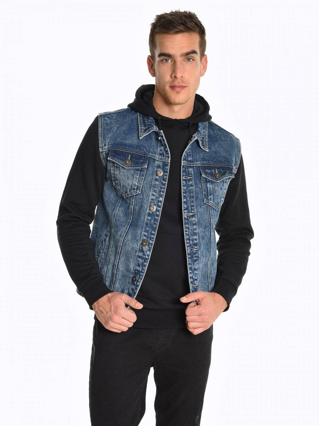 Denim vest with removable hood