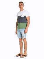 Colour block t-shirt with printed chest pocket