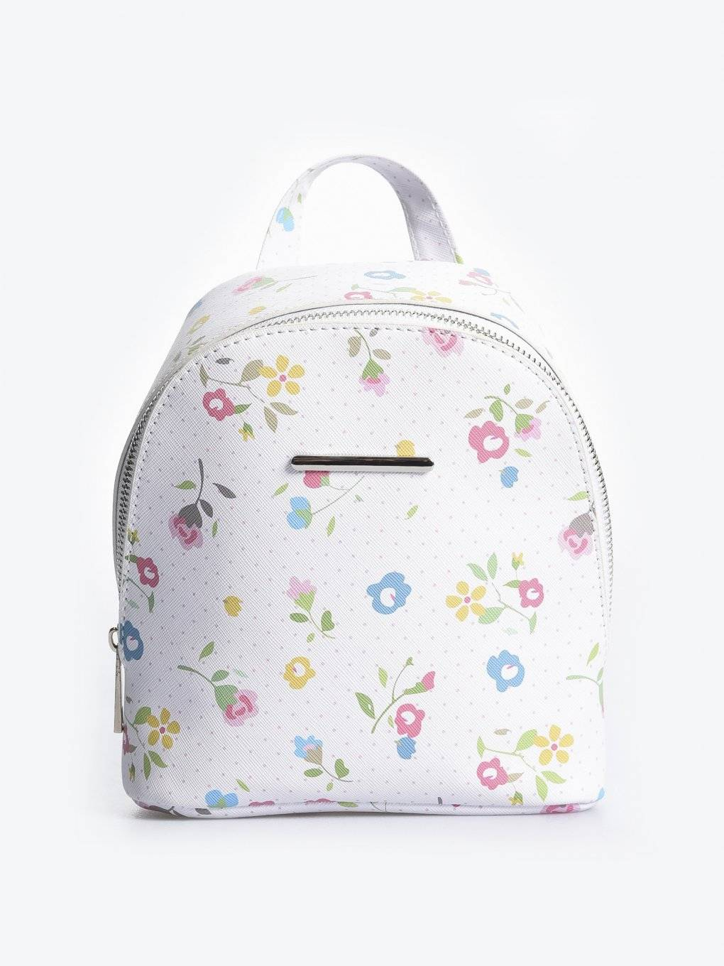 Mini backpack with floral print
