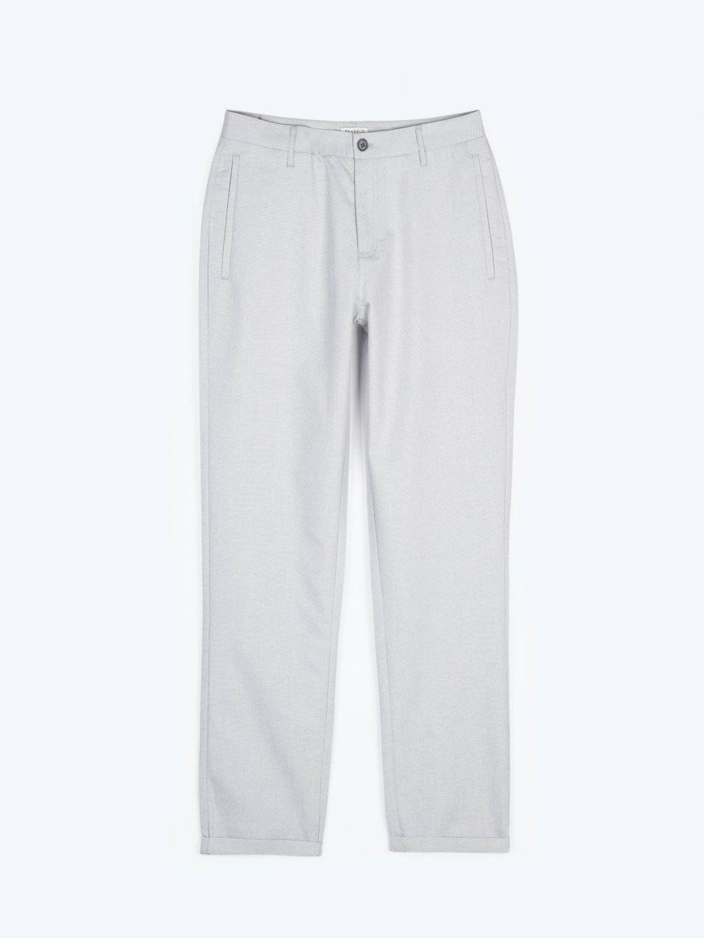 Cotton blend straight fit trousers