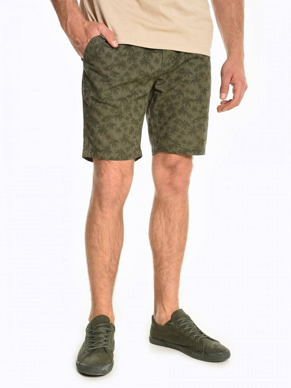 Cotton shorts with tropical print