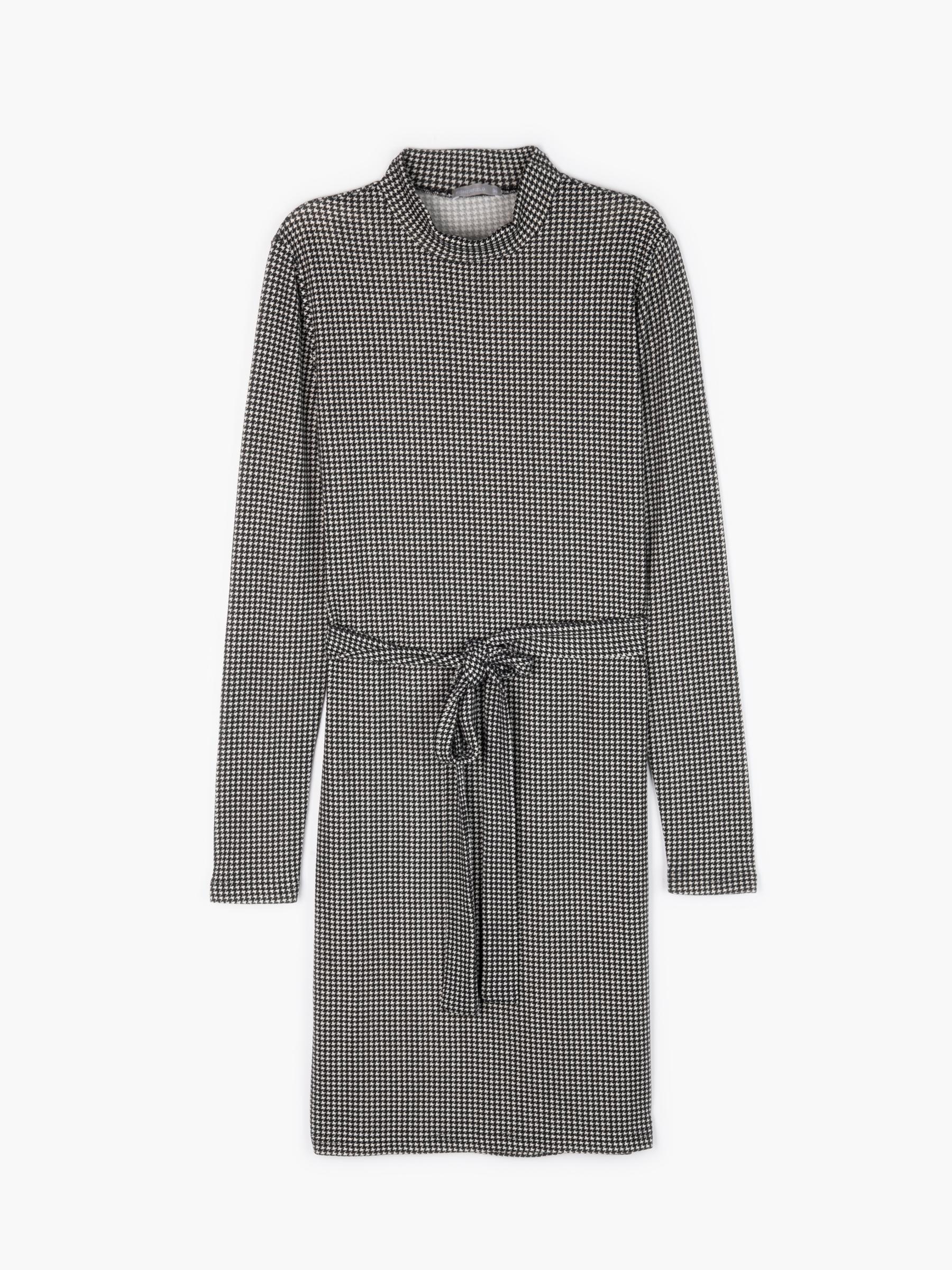 Levně GATE Pletené šaty s pepitovým vzorem