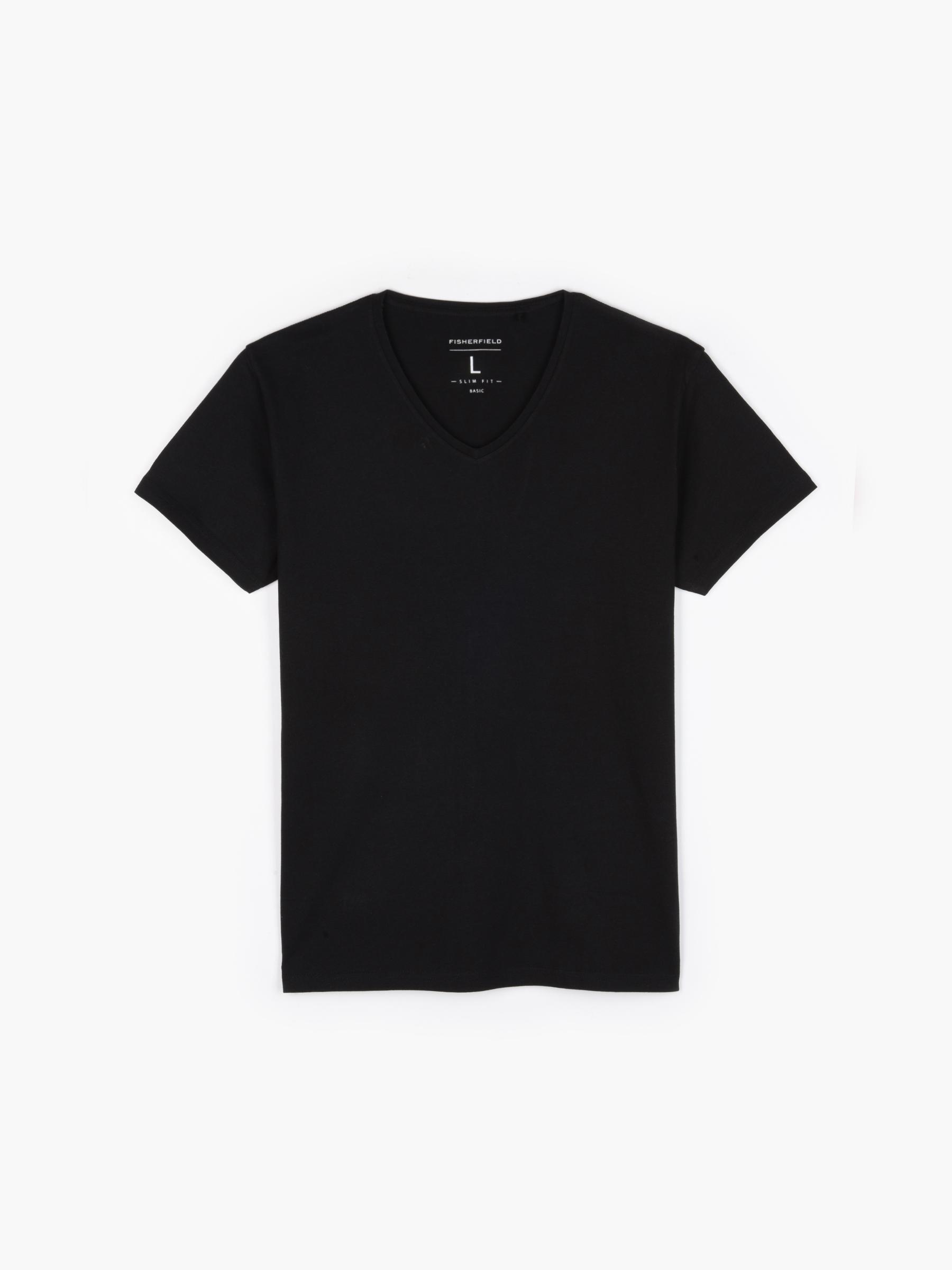 GATE Základní slim fit tričko s véčkovým límcem